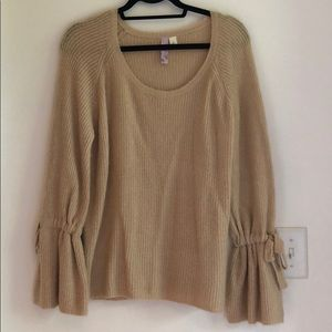 NEW large francesca's ruffle sleeve sweater